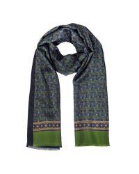 FORZIERI - Green Small Paisley Print Silk & Modal Reversible Men's Scarf - Lyst