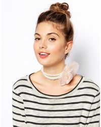 ASOS - Pink Corsage Faux Pearl Choker Necklace - Lyst