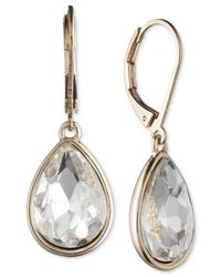 Nine West | Metallic Gold-tone Crystal Teardrop Earrings | Lyst