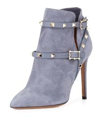 Valentino - Gray Rockstud Suede Ankle Boots - Lyst