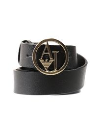 Armani Jeans | Black Belt Saffiano Metal Logo Buckle | Lyst