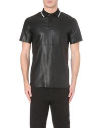 McQ | Black Ribbed Jersey-Collar Leather Polo Shirt - For Men for Men | Lyst