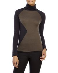 Les Copains - Gray Color Block Wool Turtleneck Sweater - Lyst