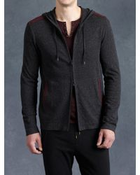 John Varvatos | Black Cotton Zip Front Hoodie for Men | Lyst