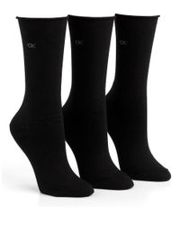 Calvin Klein | Black Roll Top Socks | Lyst