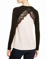 Aqua - Black Cashmere Cashmere Leopard Lace Two Tone Sweater - Lyst