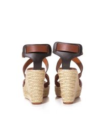 Lanvin - Brown Leather Wedge Sandals - Lyst