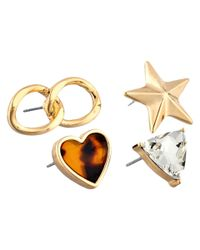 Guess - Metallic 4 Stud Mismatched Earrings - Lyst