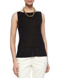 Eileen Fisher - Black Sleeveless Linen-blend Shell - Lyst