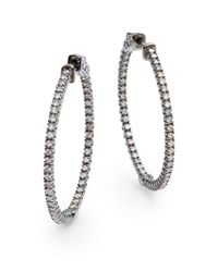 KC Designs | Metallic 1.1 Tcw Diamond & 14K White Gold Hoop Earrings/1.25 Inches | Lyst
