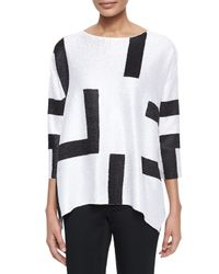 Berek - Blue 3/4-Sleeve Abstract Pullover Tunic - Lyst