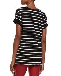 Vince - Black Feeder-stripe Short-sleeve Top - Lyst