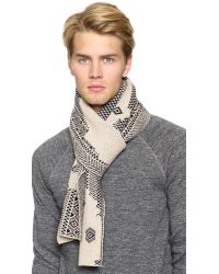 Band of Outsiders - Gray Broken Fair Isle Scarf for Men - Lyst
