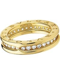BVLGARI | B.zero1 One-band 18kt Yellow-gold And Diamond Ring | Lyst