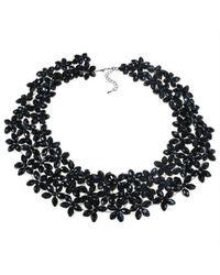 Aeravida - Lavish Mini Florals Black Crystal Statement Necklace - Lyst
