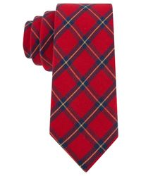 Tommy Hilfiger | Red Xavier Plaid Slim Tie for Men | Lyst