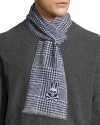 Psycho Bunny - Blue Glen Fringe Plaid Wool Scarf for Men - Lyst