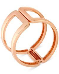 T Tahari - Pink Rose Gold-Tone Open Hinge Bangle Bracelet - Lyst