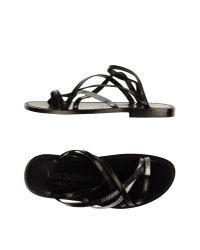 Les Hommes - Black Thong Sandal for Men - Lyst