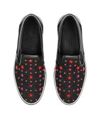 Jimmy Choo - Grove Olympic Red Denim Slip On Trainers With Multi Mix Stars for Men - Lyst