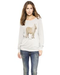 Wildfox - Natural The Perfect Gift Baggy Beach Sweatshirt  Morning Mist - Lyst