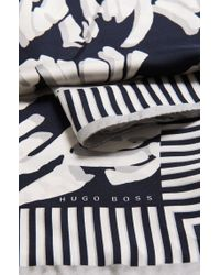 BOSS - Blue Silk Scarf With Pattern. 'lalexa' for Men - Lyst