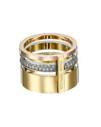 Michael Kors | Metallic Brilliance Pave Barrel Ring | Lyst