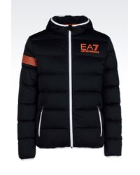 EA7 | Blue 7colours Line Full Zip Hooded Down Jacket for Men | Lyst