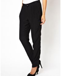 IRO   Black Loose Peg Trousers with Stitched Side Panel   Lyst