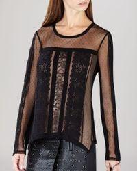 BCBGMAXAZRIA | Black Shirt - Addyson Lace Blocked Long Sleeve | Lyst