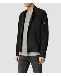 AllSaints - Black Crescent Leather Bomber Jacket for Men - Lyst