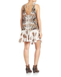 Free People | White Floral-print Flounce Dress | Lyst