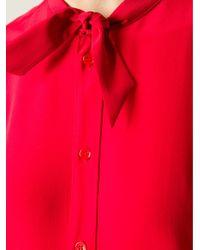Saint Laurent - Red Pussy Bow Blouse - Lyst