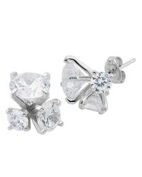 Lord & Taylor | Metallic Sterling Silver And Cubic Zirconia Trio Cluster Earrings | Lyst