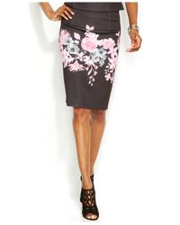 INC International Concepts - Multicolor Petite Floral-Print Pencil Skirt - Lyst