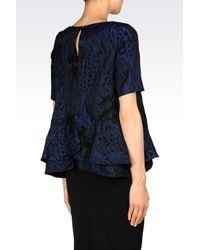 Emporio Armani | Blue Brocade Matelassé Blouse | Lyst