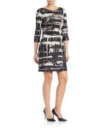 Marc New York | Black Faux Leather-trimmed Tie-dye Dress | Lyst