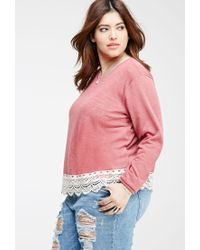 Forever 21 | Pink Plus Size Crochet-trimmed Slub Knit Top | Lyst