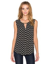 Velvet By Graham & Spencer | Black Carlina Printed Challis Tank | Lyst