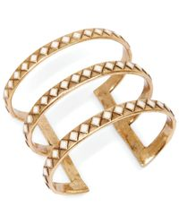 Lucky Brand | Metallic Gold-tone Diamond-shaped Accent Cutout Cuff Bracelet | Lyst