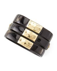 Ashley Pittman - Black Square Dark Horn Bangles With Bronze Plates - Lyst