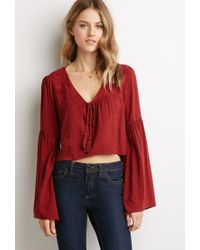 0fdea5ededf6bd Forever 21 Embroidered Bell-sleeve Peasant Top in Brown - Lyst