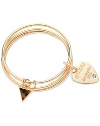 Guess | Metallic Gold-Tone Triangle Tortoise Logo Bangle Bracelet Set | Lyst