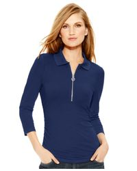 Michael Kors | Blue Michael Petite Zip-up Ruched Polo Top | Lyst