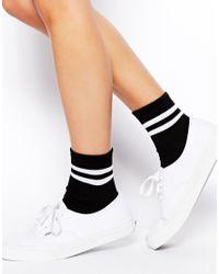 ASOS - Black 2 Stripe Ankle Socks - Lyst