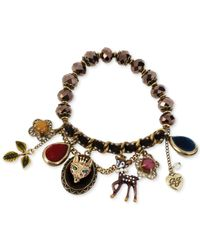 Betsey Johnson | Metallic Antique Gold-Tone Fox And Deer Charm Half-Stretch Bracelet | Lyst