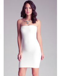 Bebe - White Wave Textured Tube Dress - Lyst