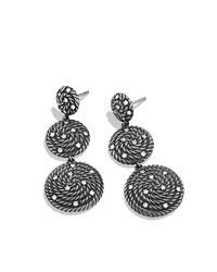 David Yurman - Metallic Cable Coil Triple-drop Earrings With Diamonds - Lyst