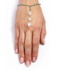 Ela Rae | Metallic 'clara' Semiprecious Stone Hand Chain - Turquoise/ Moonstone/ Gold | Lyst