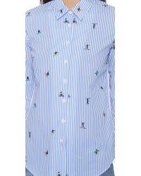 Mira Mikati - Blue Printed Surfers Stripe Shirt - Surfers Stripe Print - Lyst
